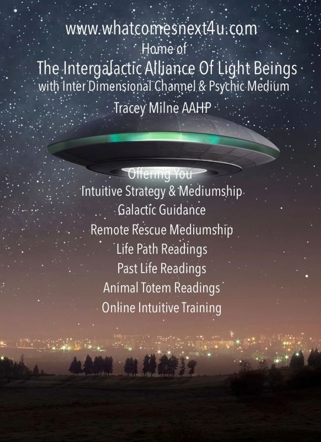 Home of the Intergalactic Alliance Of Light Beings with Canadian Psychic Medium Tracey Milne AAHP