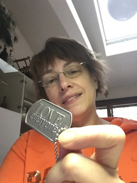 Maria with Dog tags
