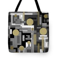 sturdy fabric tote bag in a black white and gold geometric abstract pattern.