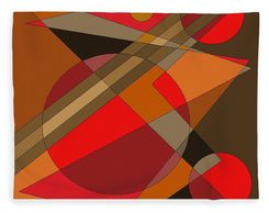 "fleece blanket in in the ""Woodwinds"" geometric pattern  of reds brown and terracotta."