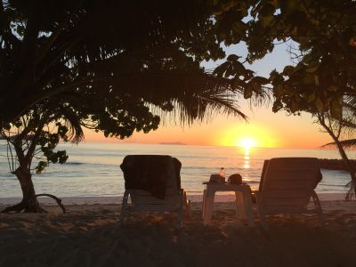 Sunset at Anse Kerlan beach