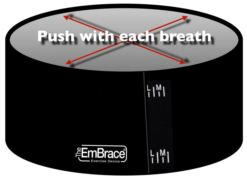 Breathing exercise. Push with each breath when wearing The EmBrace.