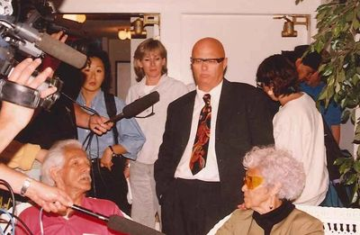 Bruce Clark in front of the press during the 1995 Gustafsen Lake stand-off. 100 Mile House, BC.