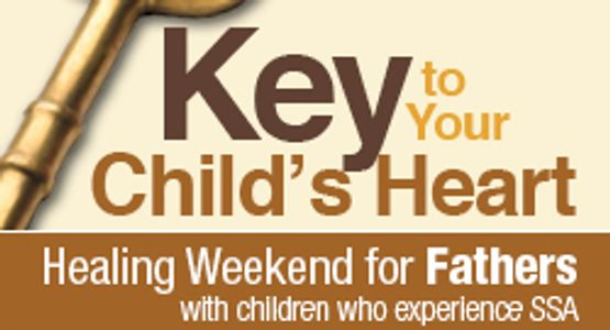Logo for Key to your Child's heart Father's Healing weekend with small key image