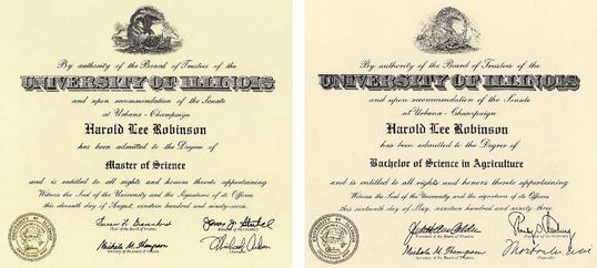 H. Lee Robinson's Bachelor's and Master's degrees