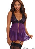 STRETCH SATIN GARTER SLIP WITH LACE CUP,HOOK &EYE FRONT.ADJUSTABLE SHOULDER STRAPS & GARTER. PLUM/BL