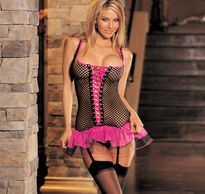 BIG HOLE FISH NET DRESS WITH LACE UP FRONT. 3 PC SET COME WITH STOCKING &  G-  STRING. HOT PINK/BLAC