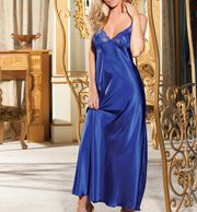 LONG SATIN GOWN WITH LACE TRIMMED CUPS,LLOW BACK WITH CRISS CROSS TIE  SHOULDER STRAPS THAT TIE DOWN