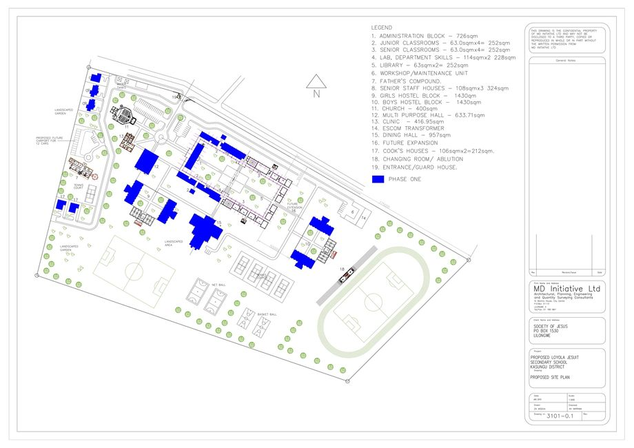 LJSS plans with Phase One construction marked in blue