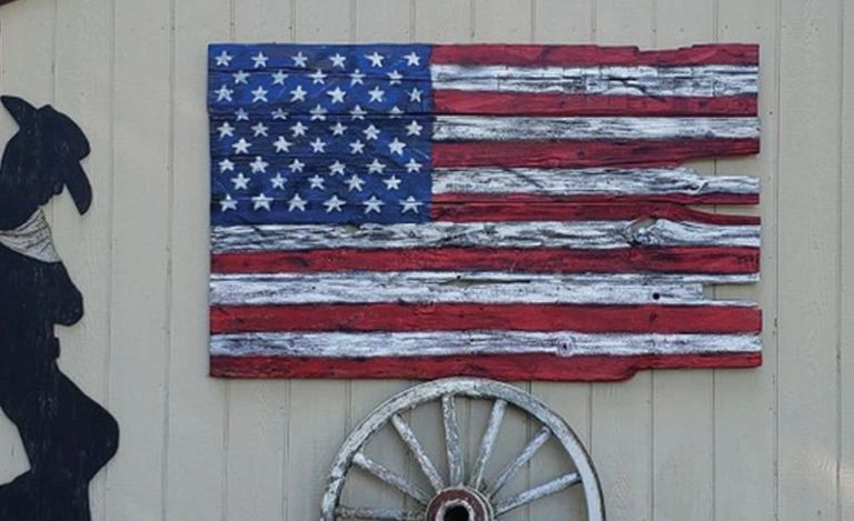Standing proudly as Americans! Custom flags available....Enjoy an Americana decor.