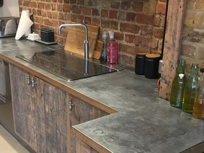 Zinc worktop with aged patina