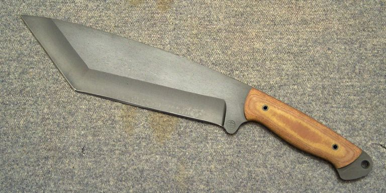 "MMHW ""Chop Chop' Custom hand made tanto point Bowie knife. 16 inches, 2 pounds and nasty sharp."