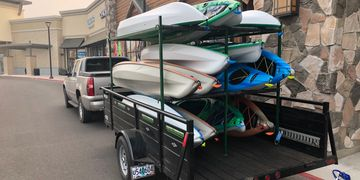 Our Shuttle Rig can hold up to 18 rental kayaks at one time.