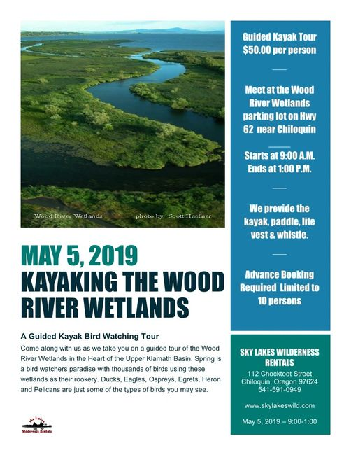 Wood River Wetlands guided kayak tour offered by Sky Lakes Wilderness Rentals  in Chiloquin, Oregon