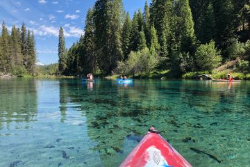 Kayaking the Head Waters of the Wood River in the Upper Klamath Basin by Crater Lake National Park.