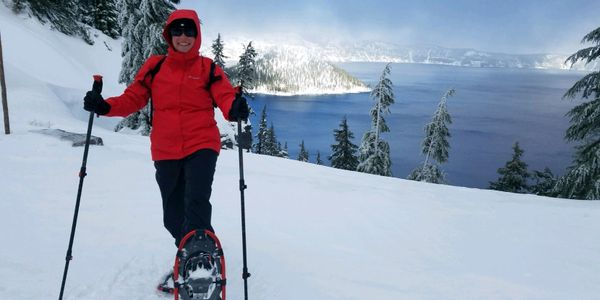 Guided snowshoe tours at Crater Lake National Park. Snowshoe rentals.