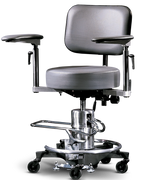 Haag-Streit exam and surgical stools are designed to adapt to different surfaces.