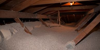 Blown in attic insulation. Blown in wall insulation