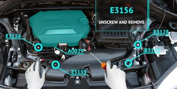 Augmented instructional overlay of car engine with part numbers and next steps indicated.