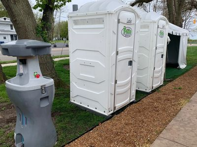 White Wedding Portable Restroom Package at The LakeHouse Restaurant and Bar in Saint Joseph, MI
