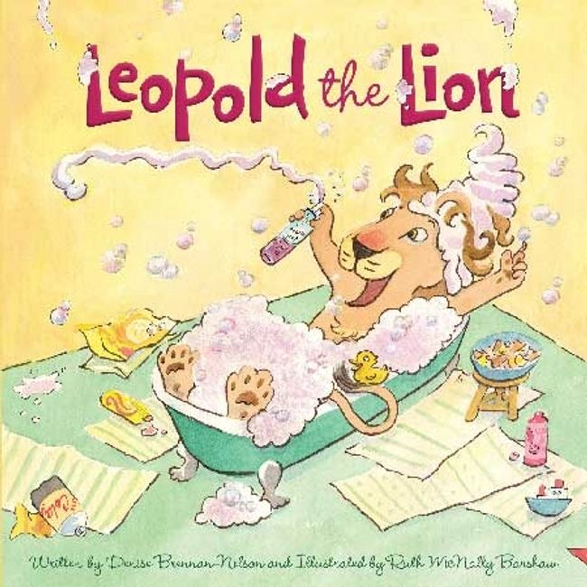 Book Leopold the Lion illustrated by Ruth McNally Barshaw. Cover shows Leopold in a bubbly bath.