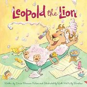 Cover of Leopold the Lion book, lion in bubbly bath