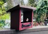 005 - Beautiful red feeder with brown roof.