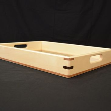 hand-crafted serving tray. Maple serving tray with splined miters and lacewood inlay.