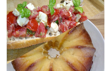 Italian cooking workshop bruschetta with mozzarella and tomato and baba cake