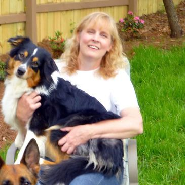 Linda Jessen owner and pet sitter in Loganville and Monroe with Australian Shepherd dog
