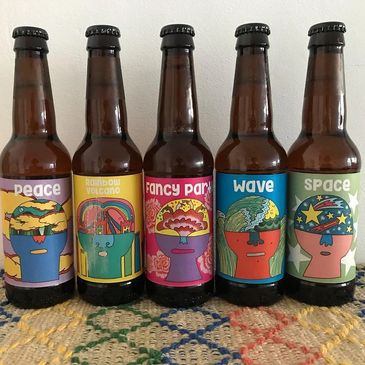 London Ale Brewery, craft beer the Dreamer series. Peace, Wave, Space, Rainbow volcano, fancy party