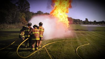 SCFD firefghters during a weekly training evolution.