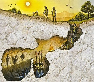 Image representing Plato's allegory of the cave. This is often seen as a metaphor for initiation.