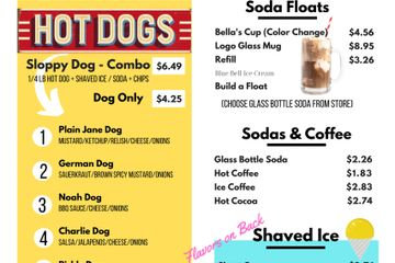 Hot dog menu