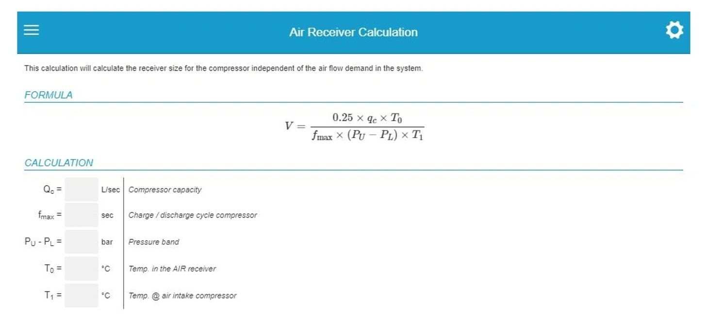 Compressed air receiver sizing calculator