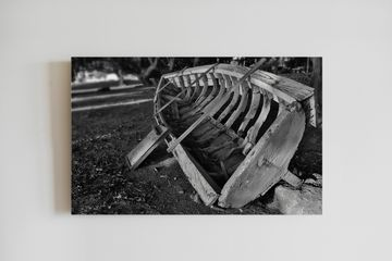 Fisherman in Mauritius. Black and white. Canvas printing. Wooden boat on beach