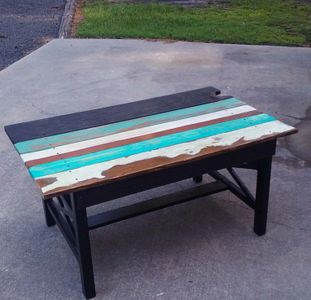 I love to make new furniture out of old furniture. The chippy salty texture is sealed and secure.