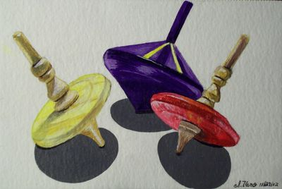 "Acrylic Painting 4""x6"" Nostalgic Yellow Purple Red Spinning Tops"