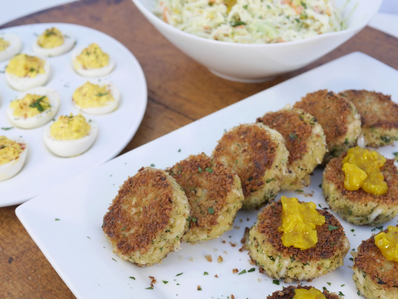 Lowcountry crabcakes and deviled eggs made with Mrs.Sassard's artichoke relish