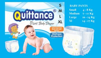 Quittance baby pullup diapers available in small, medium, large, x-large
