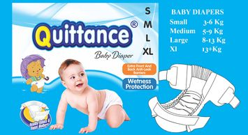 Quittance Tape Style Baby Diapers available in small, medium , large, x-large