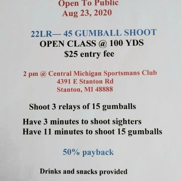 ALL NEW GUMBALL SHOOT TEST YOUR SKILLS … 45 GUMBALLS AT 100 YARDS … 22 LR ONLY PUBLIC WELCOME