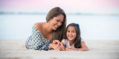 Mother Daughter Beach Photo Portrait by Alma B Photography