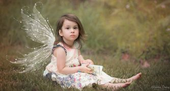 Enchanted and Beautiful Little Girl Portait  with Fairy Wings by Alma B Photography