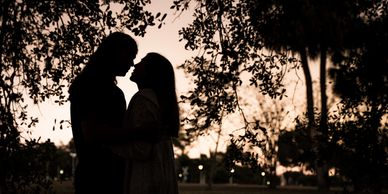 Silhouette Couple Engagement Photograph by Alma B Photography