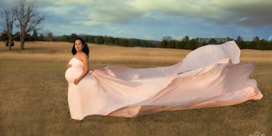 Fine Art Maternity Portrait in Field by Alma B Photography