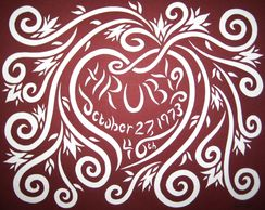 Custom/Personalized Hand cut paper artwork examples