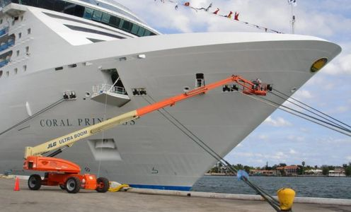 Bow Painting with 86-Ft Boom Lift