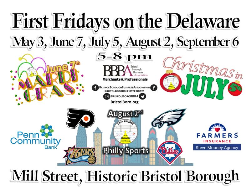 Bristol Borough First Fridays on the Delaware, street festivals, Mill Street, Bucks County PA