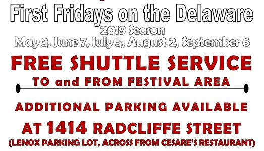 First Fridays on the Delaware Bristol Borough Bucks County free shuttle service street festivals